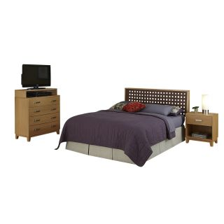 Home Styles 5517 5018 The Rave Full Queen Headboard Night Stand and Media Chest in Highlighted Blonde