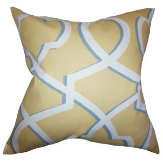 Curan Geometric Yellow Feather Filled 18 inch Throw Pillow   16283955