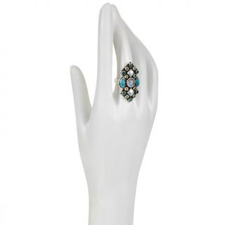 Nicky Butler Raj Multigemstone Sterling Silver Marquise Shaped Shield Ring   7667677