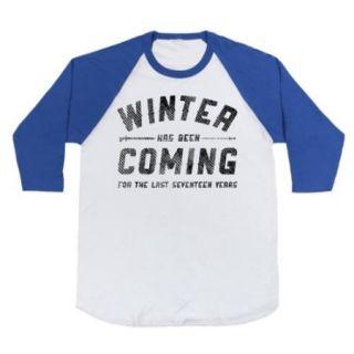 White/Royal Winter Has Been Coming Baseball Graphic T Shirt (Size Medium) NEW