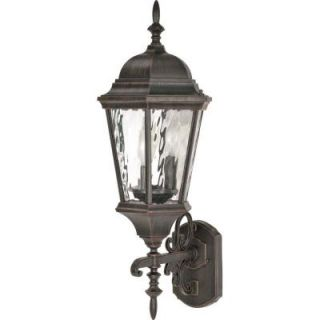 Glomar Fordham   3 Light   25 in.   Wall Lantern   Arm Up with Clear Water Glass Old Penny Bronze DISCONTINUED HD 794