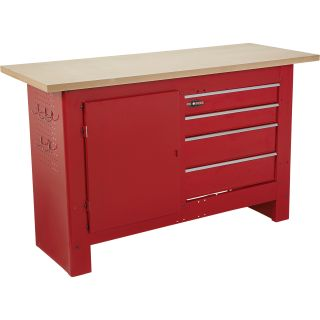 Waterloo 60in. 4-Drawer Workbench with Wooden Top — 60in.W x 24in.D x 36 1/2in.H, Model# 1006626