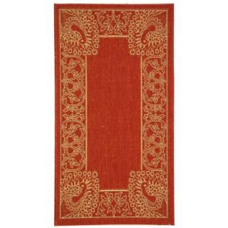 Safavieh Courtyard Red/Natural 2 ft. 7 in. x 5 ft. Indoor/Outdoor Area Rug CY2965 3707 3