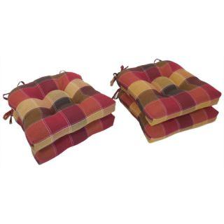 Essentials Harris Plaid Woven Plaid Tieback Chair Pads (Set of 4
