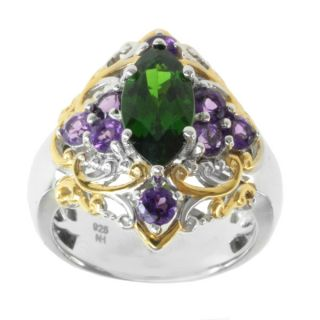 Michael Valitutti Two tone Chrome Diopside and Amethyst Ring