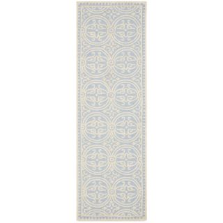 Safavieh Cambridge Light Blue and Ivory Rectangular Indoor Tufted Runner (Common: 2 x 10; Actual: 30 in W x 120 in L x 0.67 ft Dia)