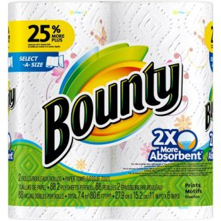 Bounty Select A Size Paper Towels, Print, 2 Rolls