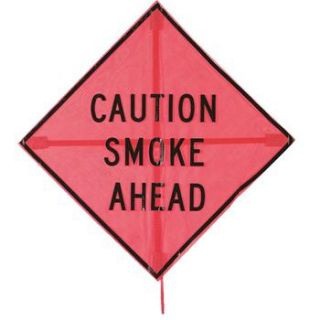 """""""Caution Smoke Ahead"""" Temporary Controlled Burn Warning Sign"""
