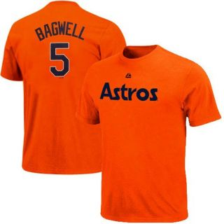 Majestic Jeff Bagwell Houston Astros #5 Cooperstown Player T Shirt   Orange