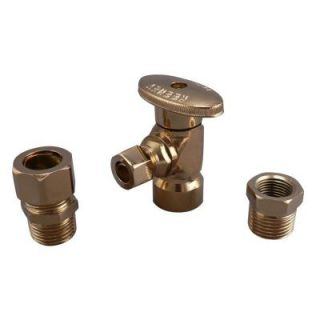 Keeney Manufacturing Company 1/2 in. FIP x 3/8 in. OD Brass Quarter Turn Angle Valve in Polish Brass Lead Free K2048APBLF