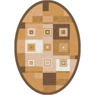 Pastiche Bloques Golden Morn Contemporary Oval Rug by Milliken