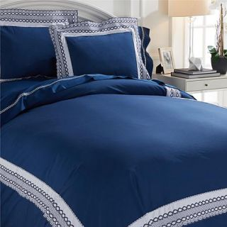 Richard Mishaan Embroidered Cotton Lace 3 piece Duvet Set   8032381