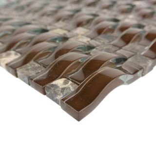 Wave 0.63 x 2.5 Glass Mosaic Tile in Marrone