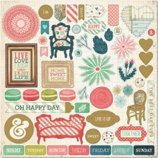 """Now & Then Mildred Chipboard 12""""X12"""" Oh Happy Day"""