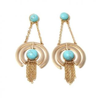 """Danielle Nicole """"Orbiting Hoops"""" Simulated Turquoise Goldtone Chandelier Drop F   8050369"""