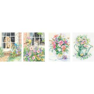 """Pencil By Number Kit 9""""X12"""" Set of 4: Cat, Dog, (2) Floral"""