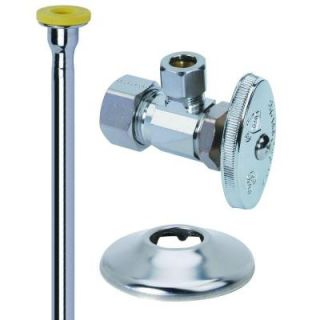 BrassCraft Toilet Kit: 1/2 in. Nom Comp x 3/8 in. O.D. Comp Brass Multi Turn Angle Valve with 12 in. Riser and Flange OCR1912DLX C