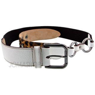 Dolce & Gabbana 95cm White Leather Brown Canvas Leopard Print Belt
