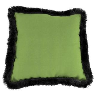 Jordan Manufacturing Sunbrella Canvas Gingko Square Outdoor Throw Pillow with Black Fringe DP980P1 1483F17