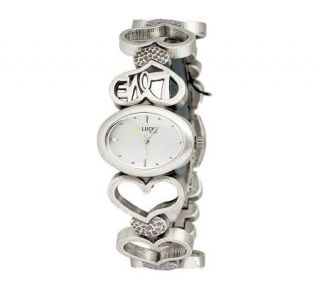 Lucky Brand Ladies Distressed Silvertone Love Heart Watch —