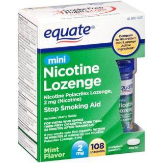 Equate Mini Nicotine Lozenge Stop Smoking Aid, 2mg, 108 count