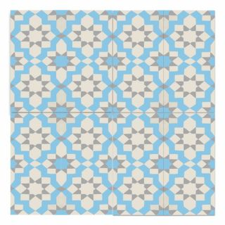 Affos 8 x 8 Handmade Cement Tile in Blue and Gray by Moroccan Mosaic
