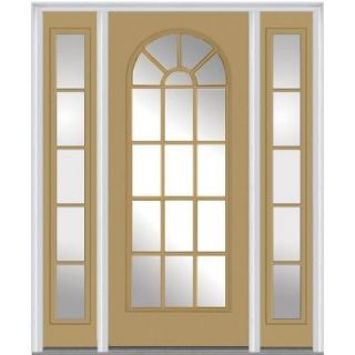 Milliken Millwork 64 in. x 80 in. Classic Clear Glass Round Top Full Lite Painted Majestic Steel Prehung Front Door with Sidelites Z009293L