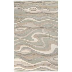 Candice Olson Hand tufted Grey Minotaur Abstract Waves Wool Rug (8 x