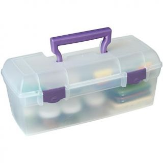 """ArtBin Essentials Lift Out Box With Handle, Clear/Purple 5 5/8""""H x 6""""W x 13""""L   6685600"""