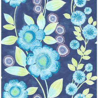 A Street 8 in. W x 10 in. H Bloom Blue Floral Wallpaper Sample 2656 004031SAM