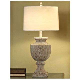 Crestview Collection Avalon Carved 34.5 H Table Lamp with Drum Shade