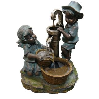 Boy and Girl Fetching Water Polyresin Sculptural Fountain by Woodland