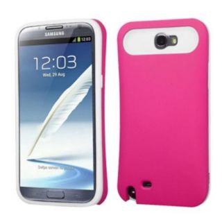 Insten Rubberized Hot Pink/White Card Wallet Back Case for SAMSUNG: Galaxy Note II (T889/I605/N7100)