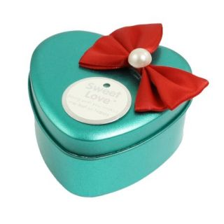 Bead Bowknot Teal Heart Shape Present Case Box for Pendant Necklace