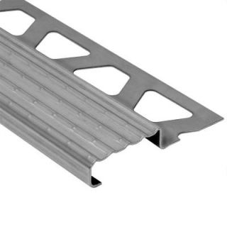 Schluter Trep E Stainless Steel 3/32 in. x 4 ft. 11 in. Metal Stair Nose Tile Edging Trim TE20/150