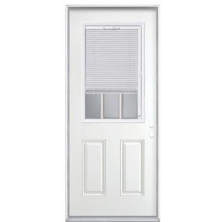 ReliaBilt 2 Panel Insulating Core Blinds and Grilles Between The Glass Half Lite Left Hand Inswing Steel Primed Prehung Entry Door (Common: 32 in x 80 in; Actual: 33.5 in x 81.5 in)
