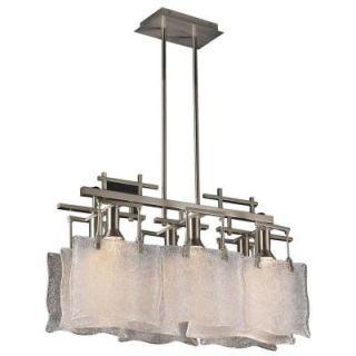 PLC Lighting 6 Light Satin Nickel Pendant with Frost Glass CLI HD23035SN
