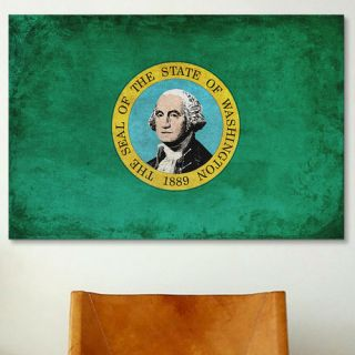 Flags Washington Grunge Graphic Art on Wrapped Canvas
