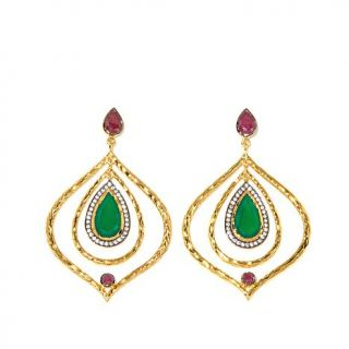 Jewels of Istanbul 6.98ctw Green Onyx, Ruby and CZ Gold Plated Sterling Silver    7980525