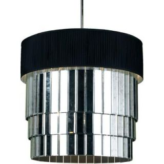 Radionic Hi Tech Jasmine 3 Light Polished Chrome Pendant with Black Lycra Shade with Diffuser JAS 193P PC 901