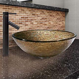 Vigo Textured Copper Glass Vessel Bathroom Sink and Dior Vessel Faucet w/ Pop Up