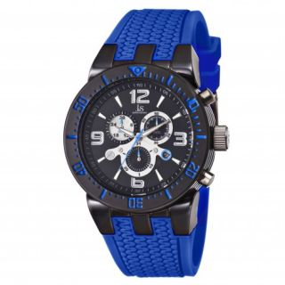 Joshua and Sons Chronograph Black Dial Blue Silicone Mens Watch Item