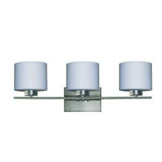 Yosemite Home Decor Marble Falls 3 Light Satin Steel Bathroom Vanity Light with Dove White Glass Shade 207 3V SS