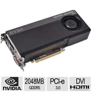 EVGA GeForce GTX 650 Ti BOOST Superclocked Video Card   2048MB GDDR5, PCI Express 3.0, DVI I, DVI D, HDMI, Display Port, NVIDIA SLI, DirectX 12, Superclocked   02G P4 3658 KR