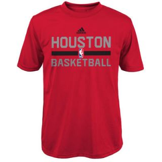 adidas Houston Rockets Youth On Court ClimaLITE Performance T Shirt   Red