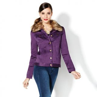 "IMAN Global Chic ""Slip Into Slim"" Stretch Denim and Faux Fur Jacket   7818305"
