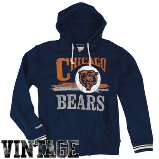 Mitchell & Ness Chicago Bears Start of the Season Full Zip Hoodie Sweatshirt   Navy Blue