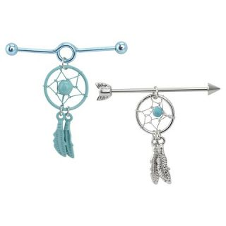 Womens Supreme Jewelry™ Industrial Earring Set of 2   Aqua/Silver