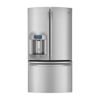 GE 35.75 in. W 23.1 cu. ft. French Door Refrigerator in Stainless Steel, Counter Depth, ENERGY STAR DISCONTINUED PYE23PSDSS