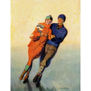 Marmont Hill Skating Couple by McClelland Barclay Painting Print on